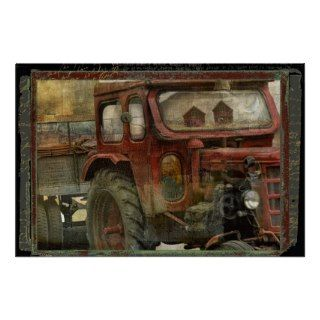 Vintage Tractor Trailer, Country Reflections Print