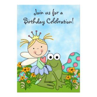 Blond Fairy Princess and Frog Birthday Invite