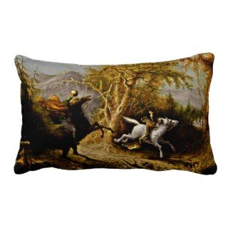 Headless Horseman Pursuing Ichabod Crane Throw Pillows