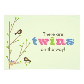 TWINS   Mod Nesting Birds Invitation