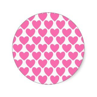 Simple Pretty Pink Polka Heart Wallpaper Pattern Round Stickers