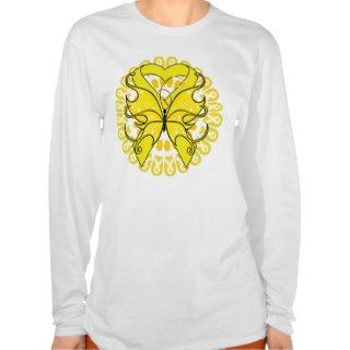 Bladder Cancer Butterfly Circle of Ribbons T Shirts