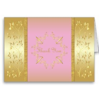 Pink and Gold Floral Thank You Card