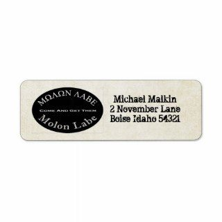 Molon Labe   Come and Get Them Quote Custom Return Address Labels