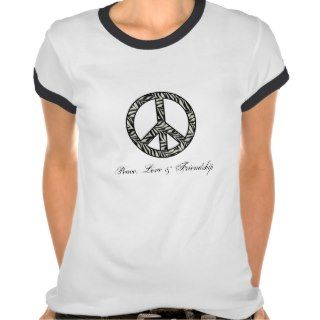 Zebra Print Peace, Love & Friendship Tshirts