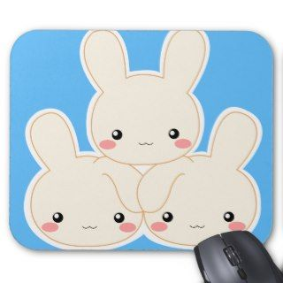 White Mochi Bunnies mouse pad