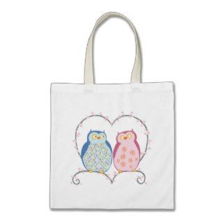 Cute Owls in Love Heart Pink Blue Clipart Canvas Bags