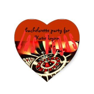 Bachelorette Party Las Vegas Casino Theme Heart Stickers