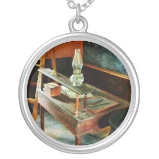 Teachers Desk with Hurricane Lamp Jewelry