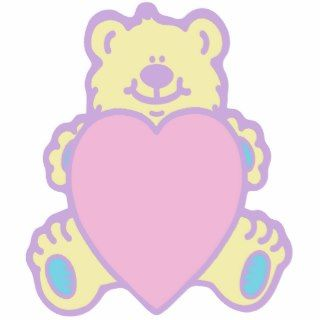 Cute Teddy Bear Love Heart Cut Out