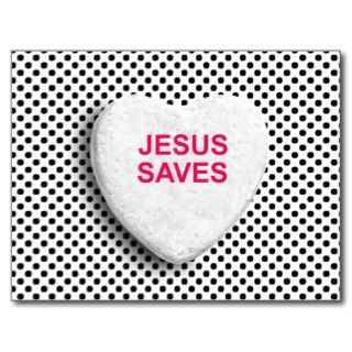 JESUS SAVES CANDY HEART POSTCARD