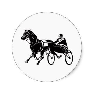 harness cart horse racing sulkies round sticker