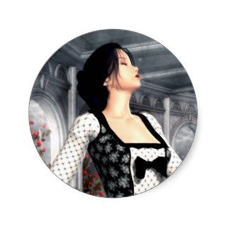 Dance Alone Gothic Romance Art Round Sticker