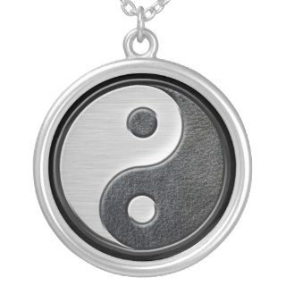 Leather and Steel Effect Yin Yang Graphic Necklace