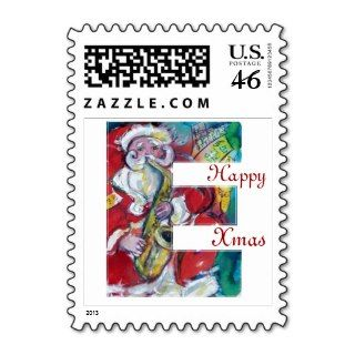 CHRISTMAS E LETTER /SANTA AND SAX MONOGRAM STAMP