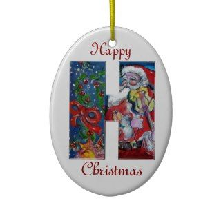 XMAS H LETTER /SANTA CLAUS WITH VIOLIN MONOGRAM CHRISTMAS ORNAMENT