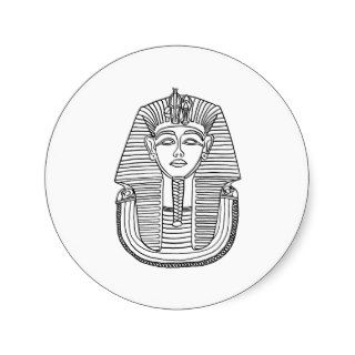 BYKI King Tut Black Line Drawing Round Stickers