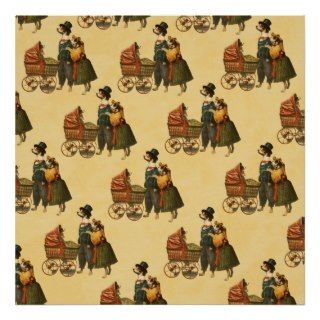 Mr and Mrs Dog and Puppy Vintage Wallpaper 1899 Print