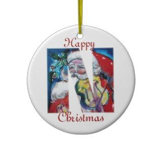 XMAS N LETTER /SANTA CLAUS WITH VIOLIN MONOGRAM CHRISTMAS ORNAMENT