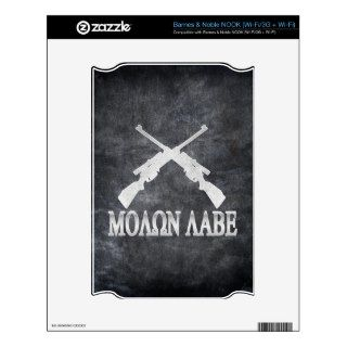 Molon Labe Crossed Rifles 2nd Amendment Decal For NOOK