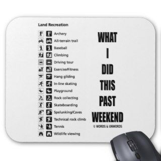 What I Did This Past Weekend (Signage Humor) Mousepad