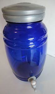 RARE Anchor Hocking Cobalt Blue Glass Ice Tea Beverage Dispenser Gallon Size