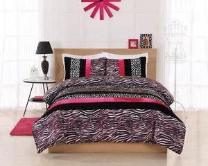 Twin Size Teen Girls Pink Black White Zebra Animal Print Comforter Bedding Set