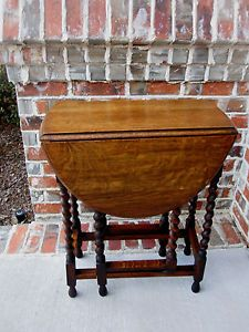 Antique English Petite Tiger Oak Drop Leaf Gate Leg Barley Twist Oval End Table
