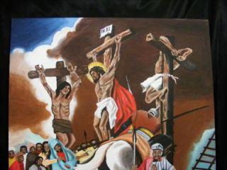 Original African American Folk Art Painting Black Jesus Christ Cross Crucifix
