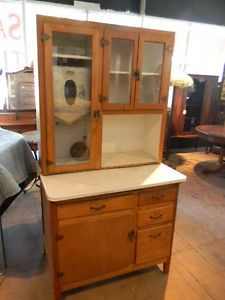 Antique Hoosier Cabinet with Metal Flour Bin and Sifter