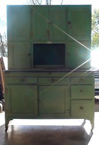 "Antique Hoosier Cabinet ""Green Apple Edition"" Baker's Station"