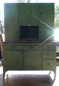 "Antique Hoosier Cabinet ""Green Apple Edition"" Baker's Station"