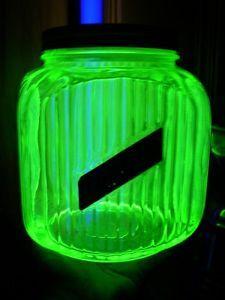 Antique Hoosier Cabinet Green Vaseline Depression Glass Cookie Jar with Lid