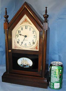 Antique Cathedral Sessions Steeple Shelf Mantel Clock w Key Pendulum Works