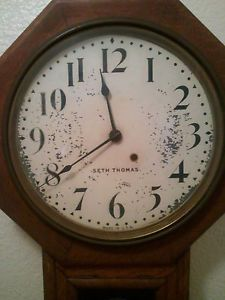 Antique Seth Thomas Schoolhouse Octagon 8 Day Regulator Wall Clock Pendulum Vtg