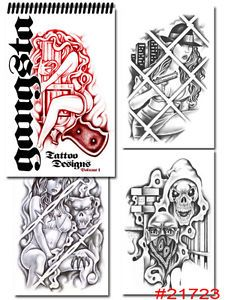 Tattoo Supplies Reference Book Flash Gangster Art Gangsta Loc Prison Style Grey