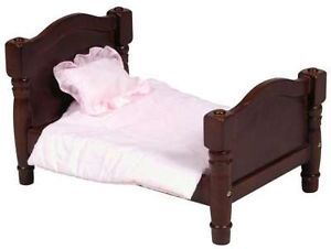 3 Piece Baby Doll Bed Play Time Toy Furniture Espresso Wood Wooden Children Kids