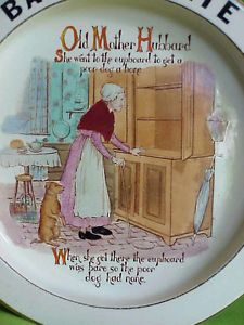 Antique English Old Mother Hubbard Nursery Rhyme Baby Child Feeding Bowl Plate
