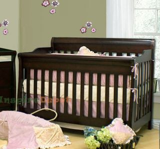 4 in 1 Aspen Solid Wood Espresso Convertible Baby Crib Toddler Bed Rail