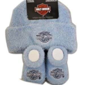 Harley Davidson Infant Baby Boys Cap Hat Booties Gift Set Apparel Outfit