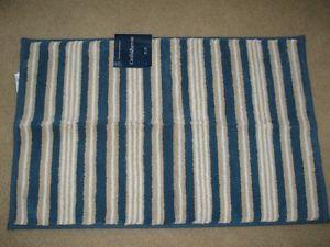 New Croft Barrow Cotton Bathroom Rug Blue Tan White Stripes Soft 20 x 30