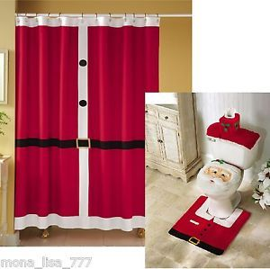 New 4 PC Santa Fabric Shower Curtain Set Christmas Holiday Rug Red Bath Bathroom