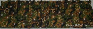 Camouflage War and Peace Brown Green Camo Cabin Valance