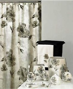 New Floral Black Silver White Shower Curtain Rug and Ceramic Bath Set