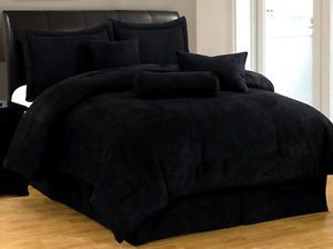 New 7 PC Full Size Bedding Solid Black Suede Comforter Set Bed in A Bag