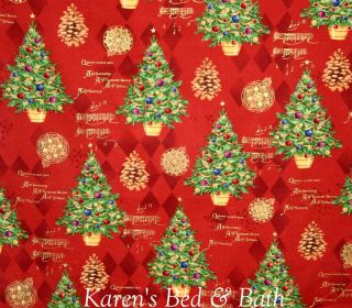 Green Christmas Tree Decorations Pine Cone Xmas Music Carol Red Curtain Valance