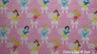 Disney Princess Cinderella Snow White Pink Hearts Curtain Valance New