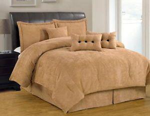 7 PC Solid Tan Beige Comforter Set Micro Suede Queen Size Bed in Bag New