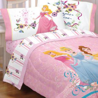 5pc Disney Princess Dreams Full Bedding Set Cinderella Aurora Comforter Sheets