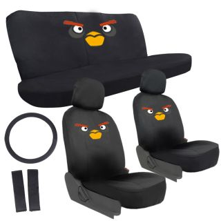 11 PC Set Angry Birds Game Minion Car Seat Covers Belt Pads Steering Wheel